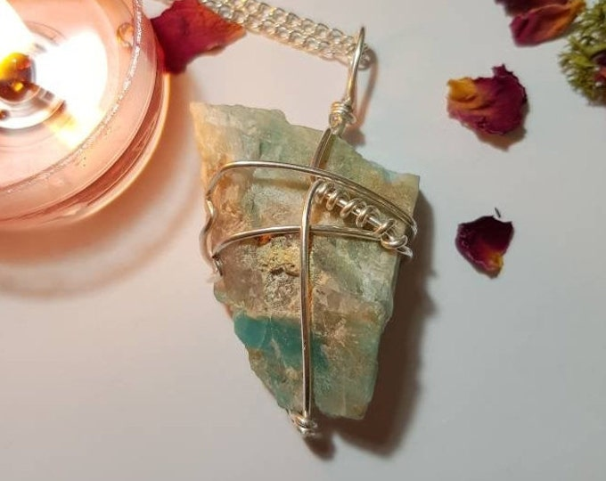 Amazonite necklace - Crystal necklace - Health and luck