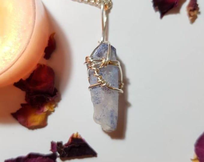Blue dumortierite included Quartz necklace - Blue Dumortierite - Blue Quartz - Third eye