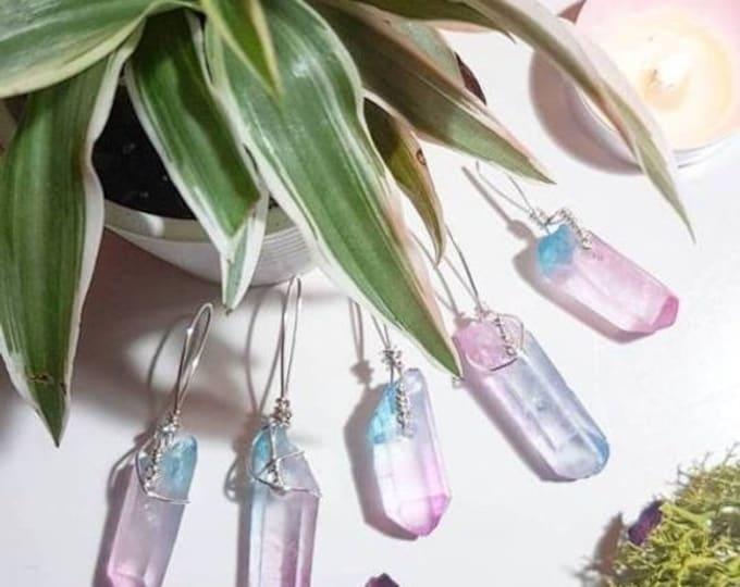 Pastel Pink and Blue Aura Quartz necklace