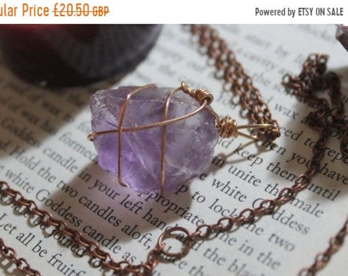 Wire wrapped Rose Amethyst on long copper tone necklace