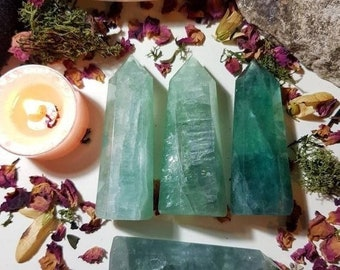 Large Green Fluorite tower
