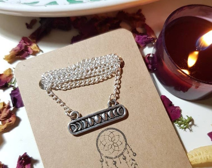 Moon phase silver necklace