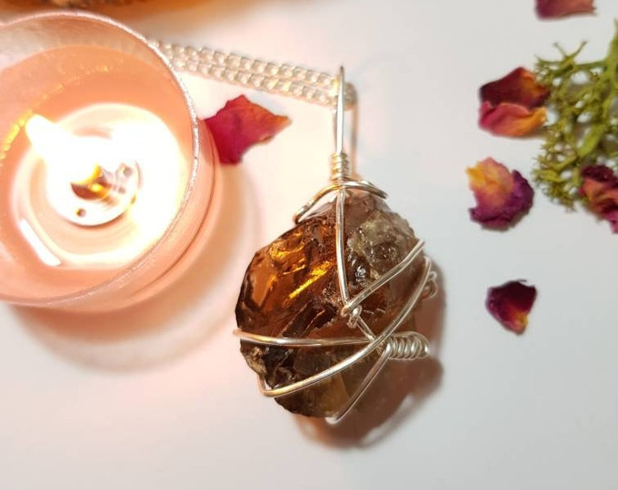 Large Smoky Quartz necklace - Grounding and protecting - Crystal necklace