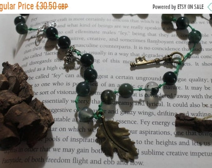 25% OFF Moss Agate long hemp necklace - Beaded necklace - Moss Agate - Earthly