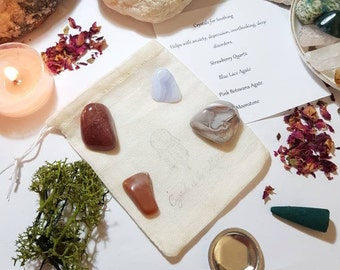 Crystals for Soothing - Crystal pouch - Crystal set - Reiki Infused