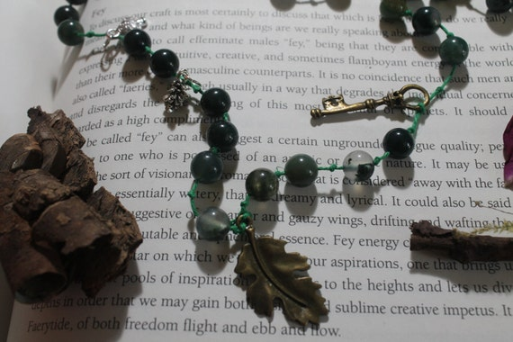 Moss Agate long hemp necklace