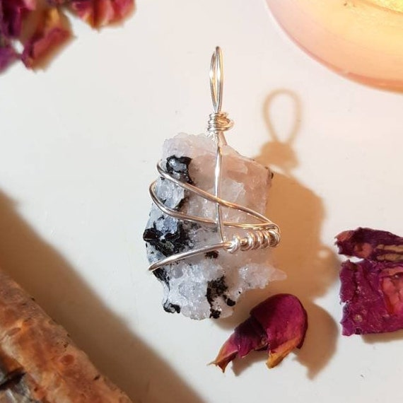 Black Tourmaline in Quartz pendant