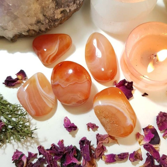 Stunning translucent orange banded carnelian agate from India