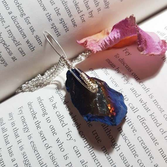 Wire wrapped Flame Aura Quartz necklace. Wire wrapped necklace. Crystal necklace. Wire wrapped crystals. Aura Quartz necklace. Pagan gift.