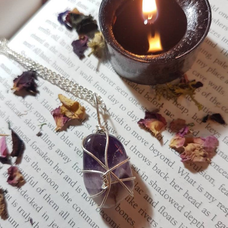 Crown Chakra Protection and calm Amethyst Amethyst Necklace Crystal necklace