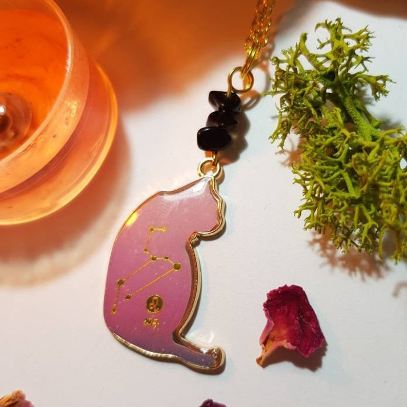 Birthstone Leo gold plated cat necklace Onyx