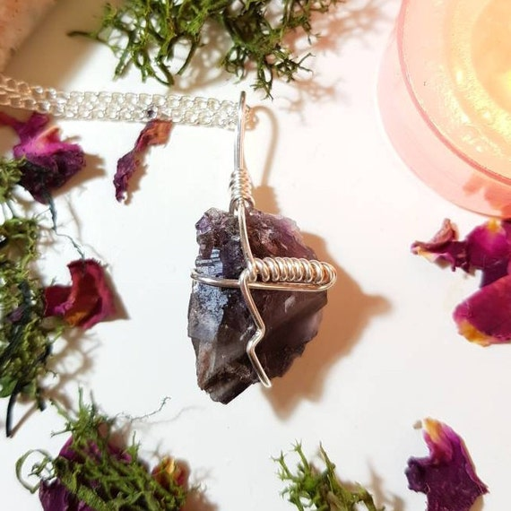 Raw purple Fluorite crystal necklace