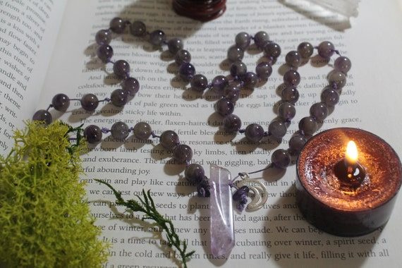Beaded Amethyst and purple hemp long necklace with moon charm