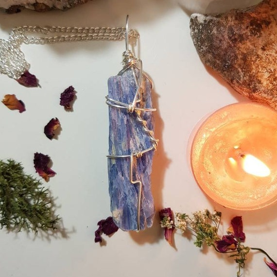 Wire wrapped Blue Kyanite necklace