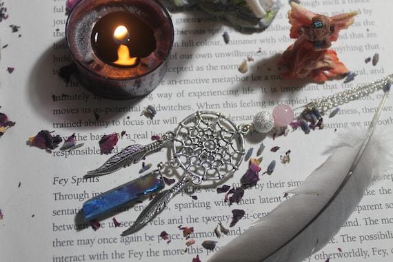 Dream Catcher Flame Aura Quartz necklace with Rose Quartz