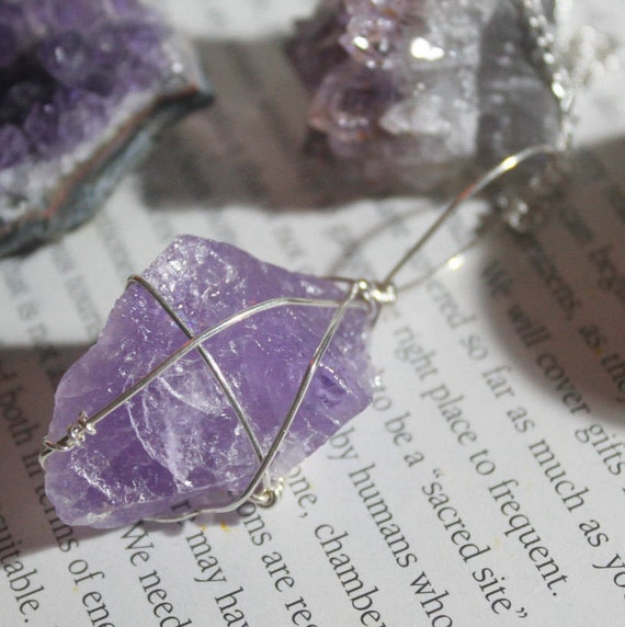 Wire wrapped Rose Amethyst long necklace
