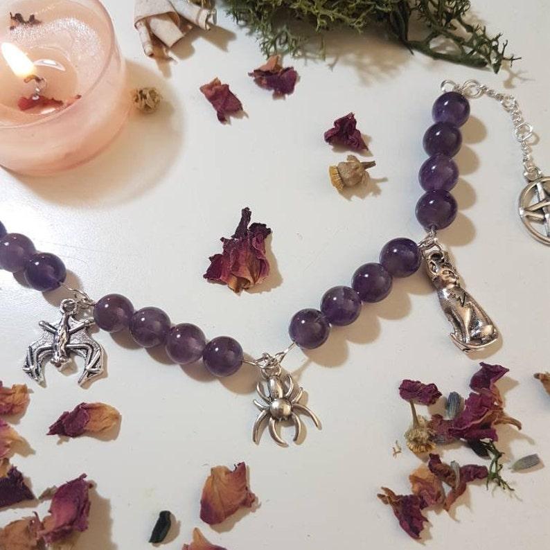 Samhain 25/% OFF Witchy bracelet Amethyst bracelet Halloween