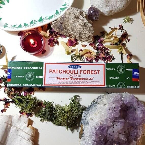 Box of fourteen Satya Patchouli Forest incense sticks