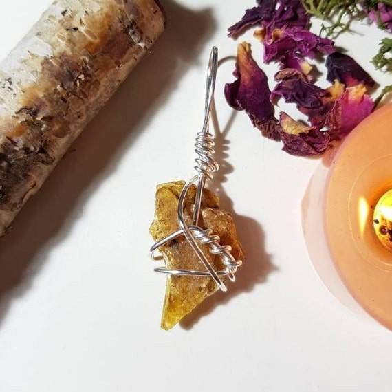 Wire wrapped Raw Amber pendant