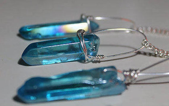Polished Aqua Quartz silver plated necklace