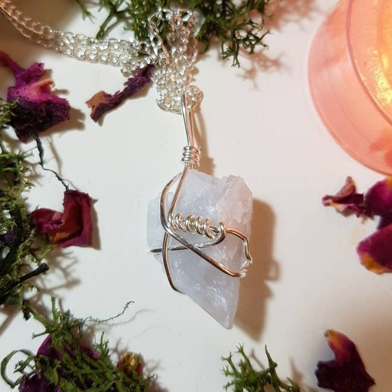 Wire wrapped Blue Calcite cluster necklace