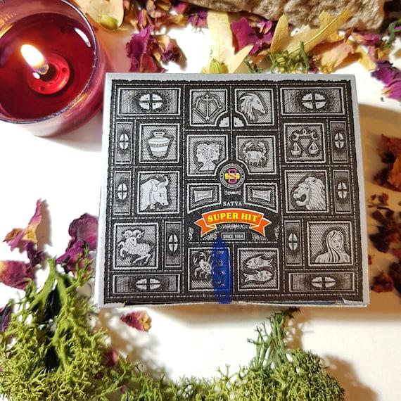 Box of Twelve Satya Super Hit incense cones. Incense cones. Satya incense.