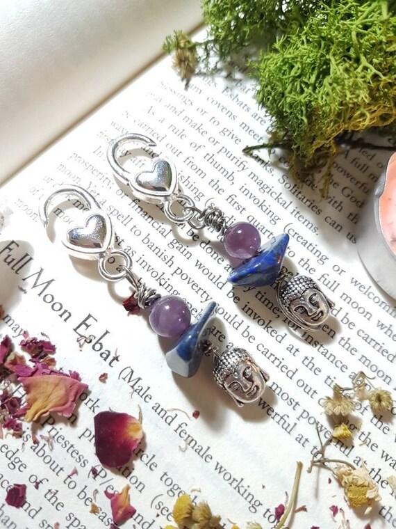 Lapis Lazuli and Amethyst Buddha ear weights