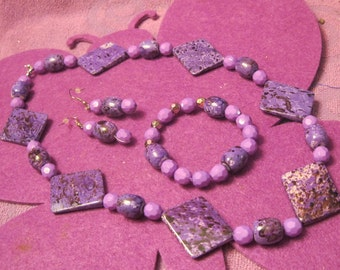 SHADES of PURPLE MARBLE Jewelry Set