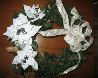WHITE PONSIETTA Christmas WREATH with White/Gold Ribbon Handmade One of A Kind