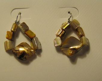 MOTHER of PEARL Sea SHELLS  Dangle Pierced Earrings