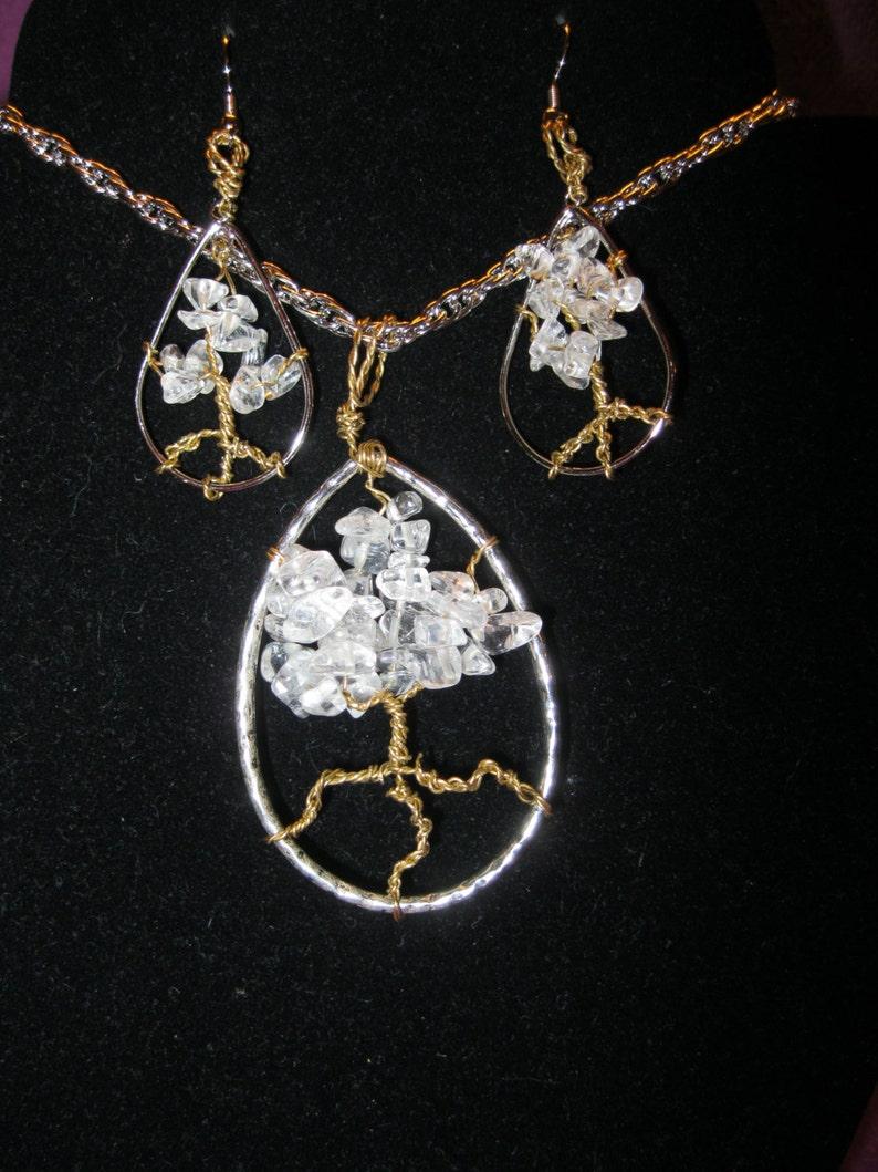 Teardrop HEALING TREE Necklace and Earring Set CRYSTAL Quartz