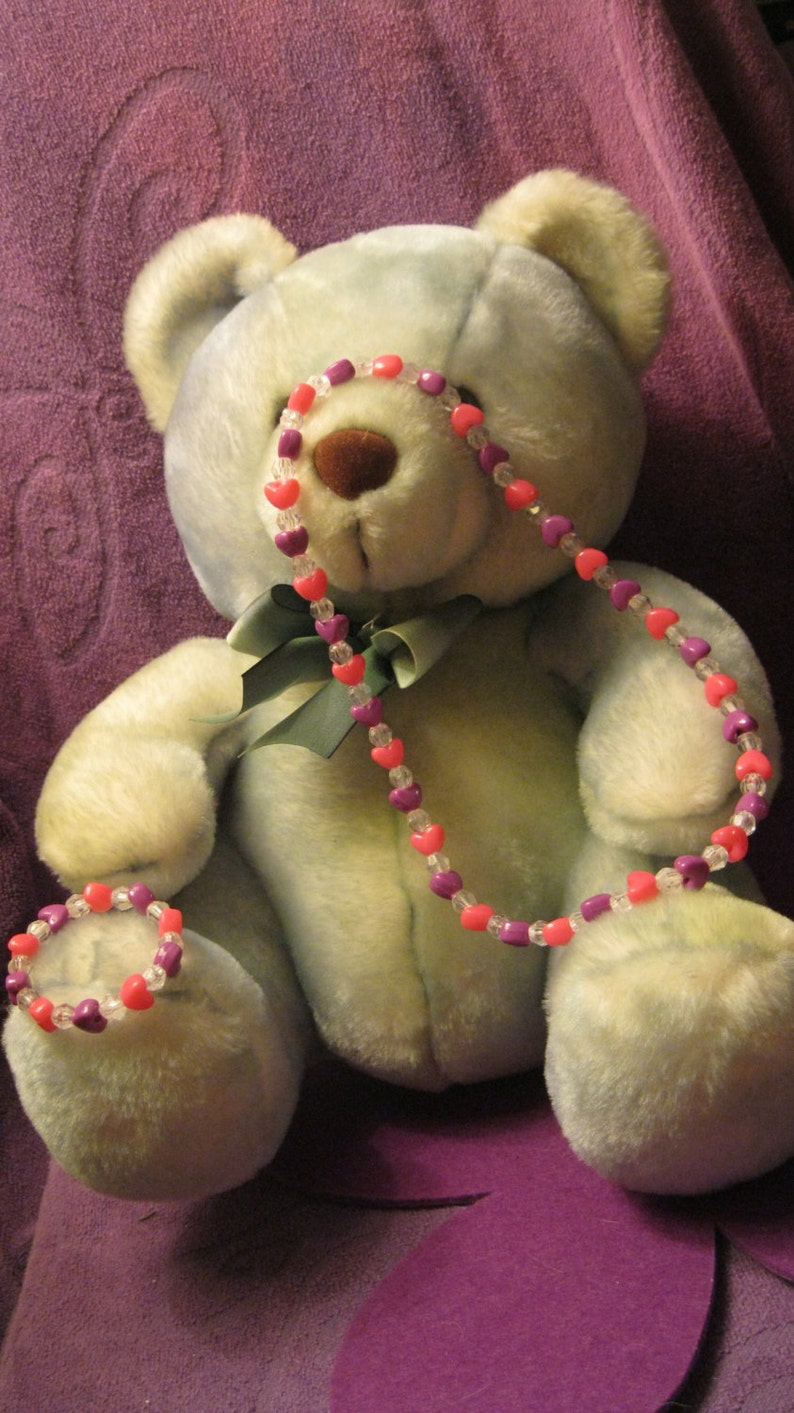 Children  Assorted PINK And PURPLE HEARTS with Clear Beads Jewelry Set