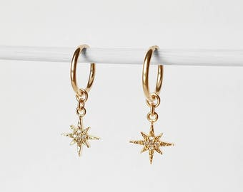 North Star CZ Hoop Earrings | dainty little endless hoops, small ear cuff, shiny star galaxy earrings, north star earrings