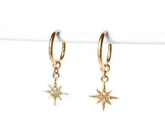 907ea810e North Star CZ Hoop Earrings   dainty little endless hoops, small ear cuff,  shiny star galaxy earrings, north star earrings
