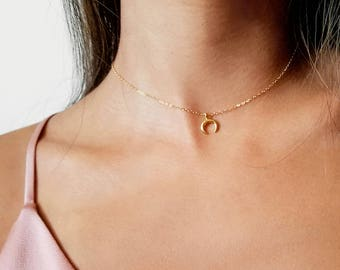 Tiny Crescent Moon Choker OR Necklace   dainty gold, silver or rose gold charm necklace