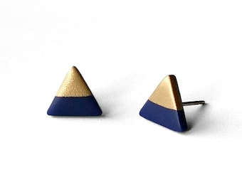 NAVY BLUE & GOLD Dipped Triangle Stud Earrings | Titanium Post Minimal Modern Geo Hypoallergenic Jewelry/14k gold filled sterling silver