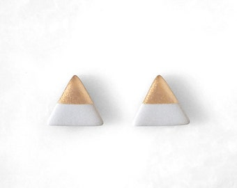 PALOMA GRAY & ROSE Gold Dipped Triangle Stud Earrings / Geo Studs Weightless Everyday Simple Modern Jewelry