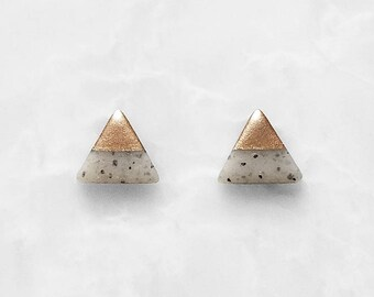 LIGHT GRANITE & ROSE Gold Dipped Triangle Stud Earrings / Simple Everyday Modern Studs,dainty triangle studs,marble studs,unique gift idea,