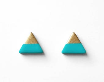 TURQUOISE & GOLD Dipped Triangle Stud Earrings, Bridesmaid Earrings Bridesmaid gifts,Wedding Jewelry, Small Triangle Studs,Amoorella Jewelry