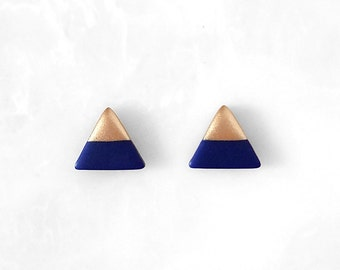 NAVY BLUE & ROSE Gold Dipped Triangle Stud Earrings, Geometric Earrings, Small Triangle Earrings, Minimalist Earrings / Amoorella Jewelry