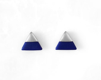 NAVY BLUE & SILVER Dipped Triangle Stud Earrings, Geometric Earrings, Small Triangle Earrings, Minimalist Earrings / Amoorella Jewelry