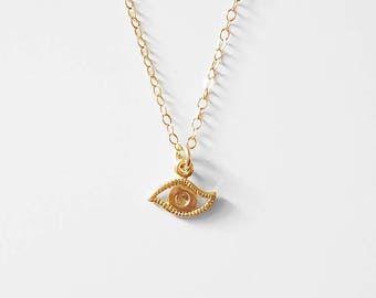 Tiny Evil Eye Choker - dainty gold, silver or rose gold charm necklace