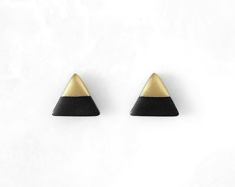 BLACK & GOLD Dipped Triangle Stud Earrings - Titanium Post Minimalist Modern Geo Geometric / Amoorella Jewelry