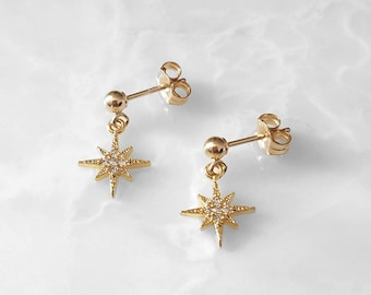 Tiny North Star CZ Earrings* 14k Gold or Rose Gold Filled,Sterling Silver *small dainty little spike shine galaxy, simple minimal jewelry