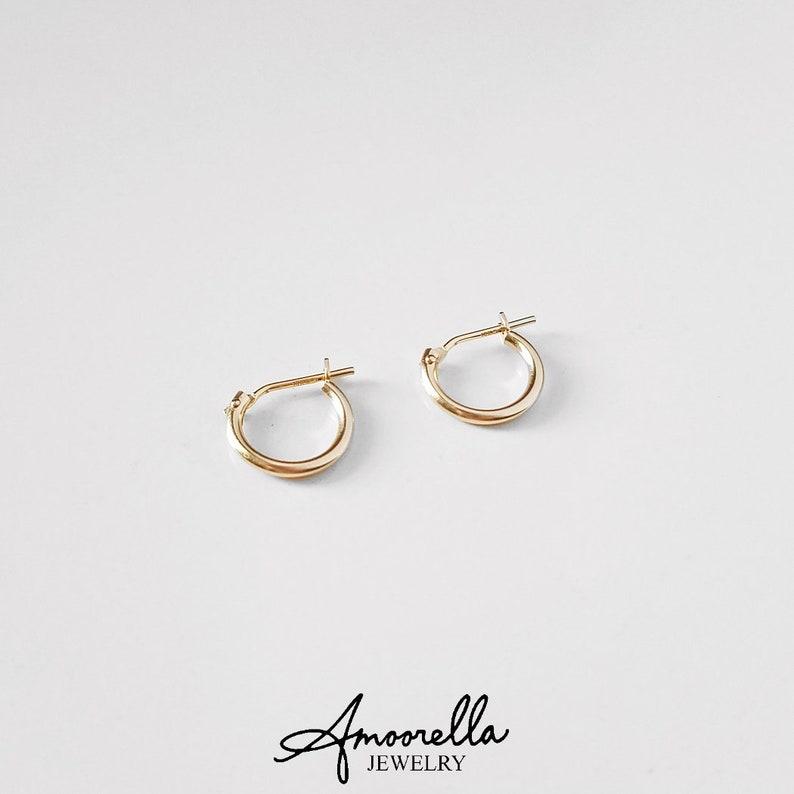 123560934 14k Solid Yellow Gold Hoops 10mm 12mm Hoop Earringsclick | Etsy