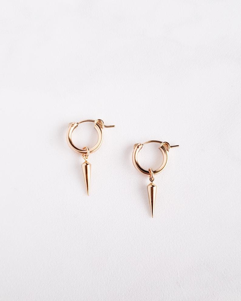 45c80b851 Spike Hoop Earrings small spike hoops dagger hoops point | Etsy