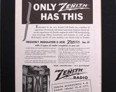 1940 Zenith Electrostatic Radio Magazine Advertisement Vintage ad magazine ad retro advertising poster 1940s Electronics Radio Stereo