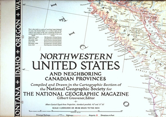 Northwestern United States & Canada 1950 vintage map/Cartography/  on west rivers in united states, district of columbia map united states, british columbia map with cities, british columbia map alaska, columbia river map united states, british columbia canada, british columbia and alberta road map, columbia city in the united states, british columbia usa,