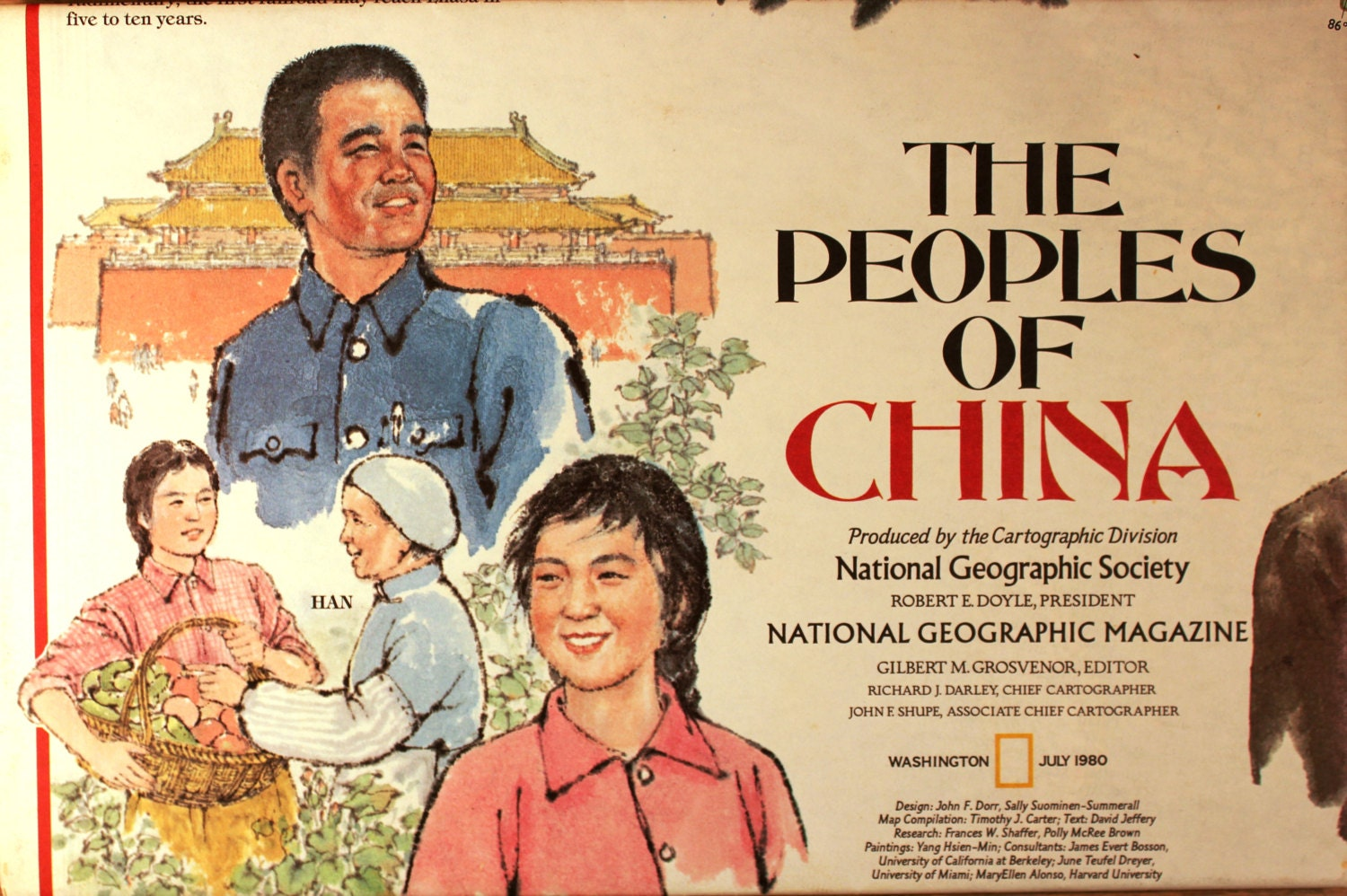 The Peoples of China vintage map/ National Geographic/ | Etsy