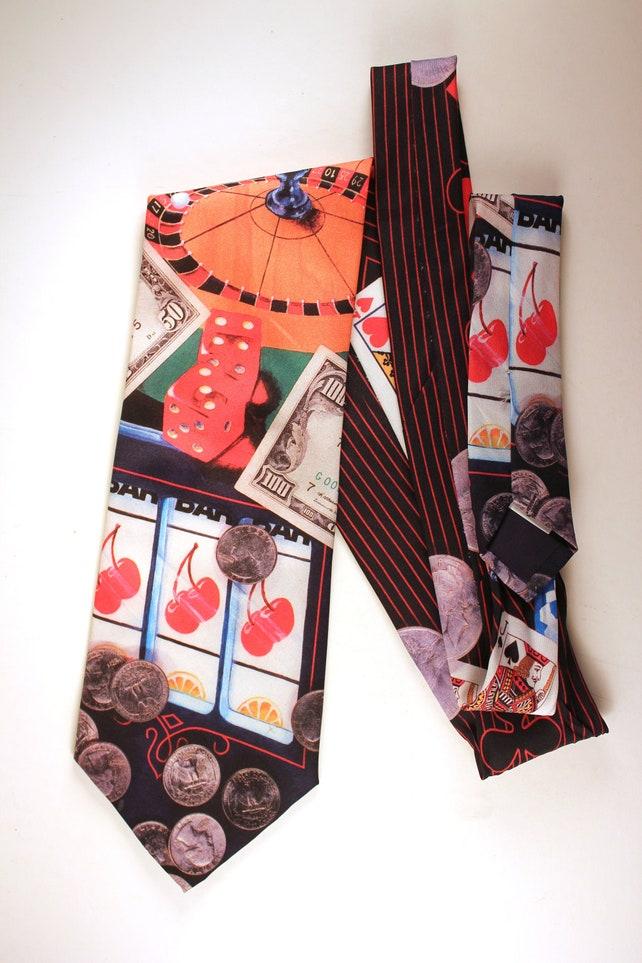 Vintage Gambling Tie Cravat Vintage Clothing Retro Cool Etsy